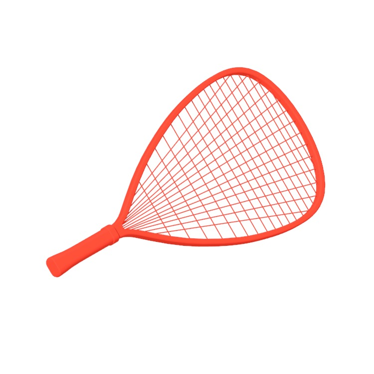 3D model of a Racquetball Racquet viewed in perspective