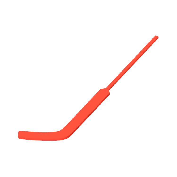 View of a Ice Hockey Goalie Stick in 3D available for download