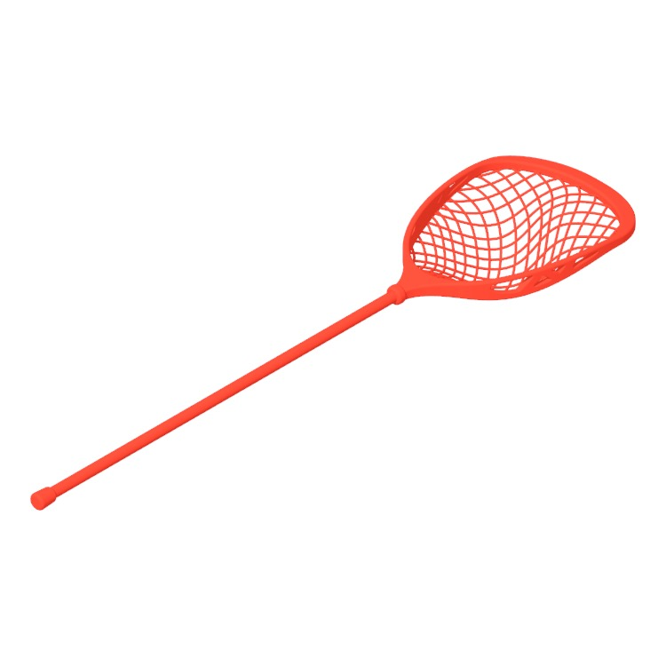 3D model of a Lacrosse Goalie Stick viewed in perspective