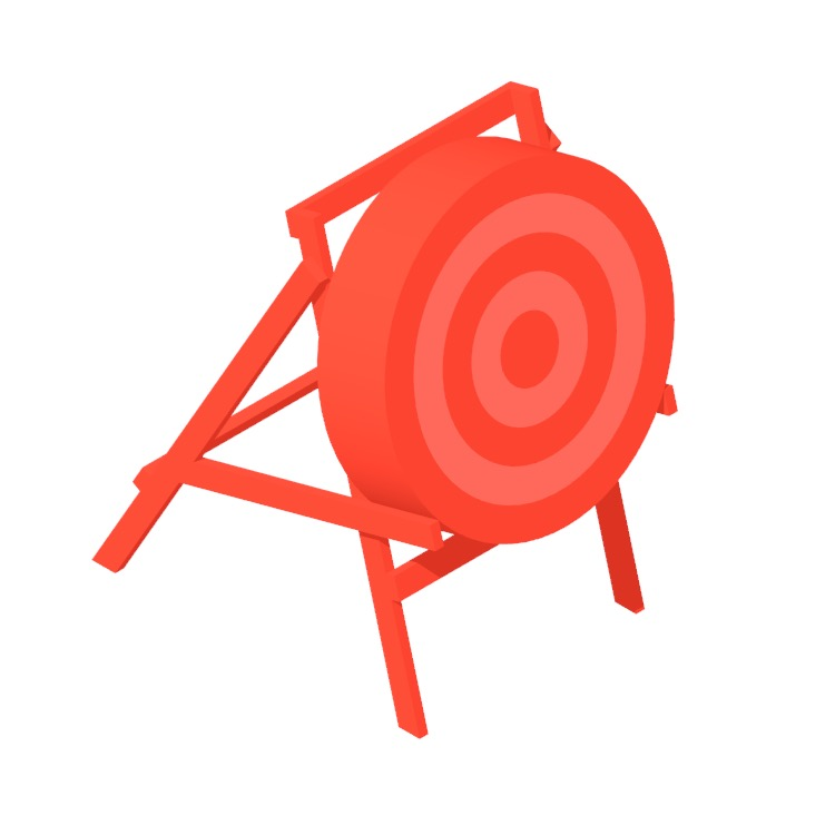 3D model of a Archery Target Stand viewed in perspective