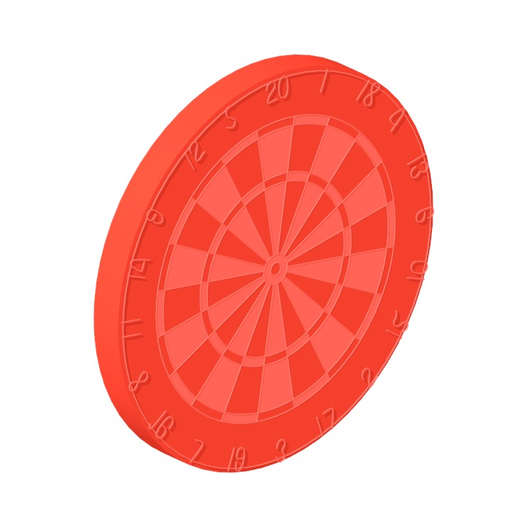 3D model of a Dartboard viewed in perspective