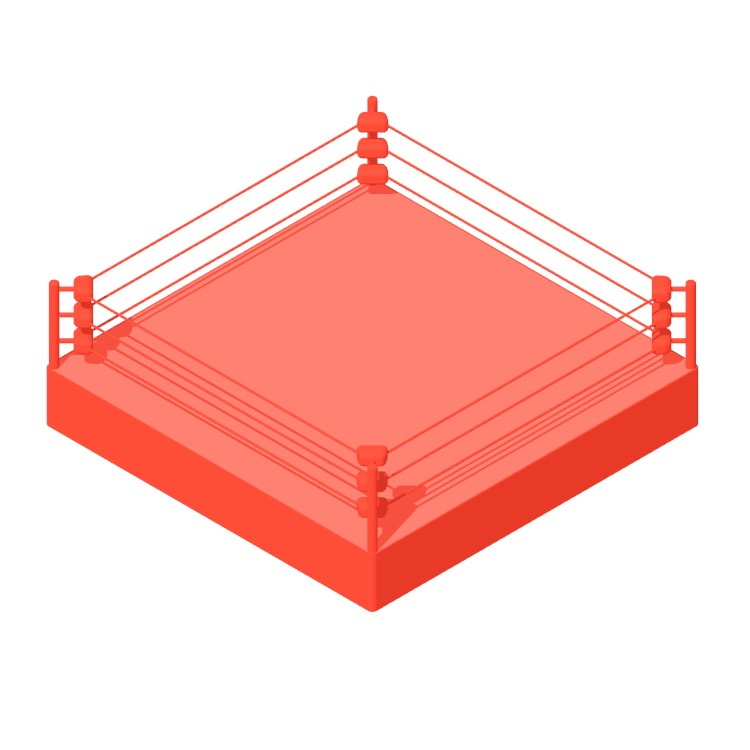 3D model of a Professional Wrestling Ring viewed in perspective