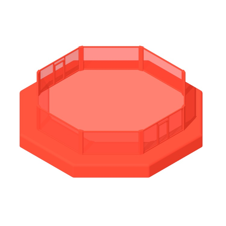 Perspective view of a 3D model of a UFC Octagon