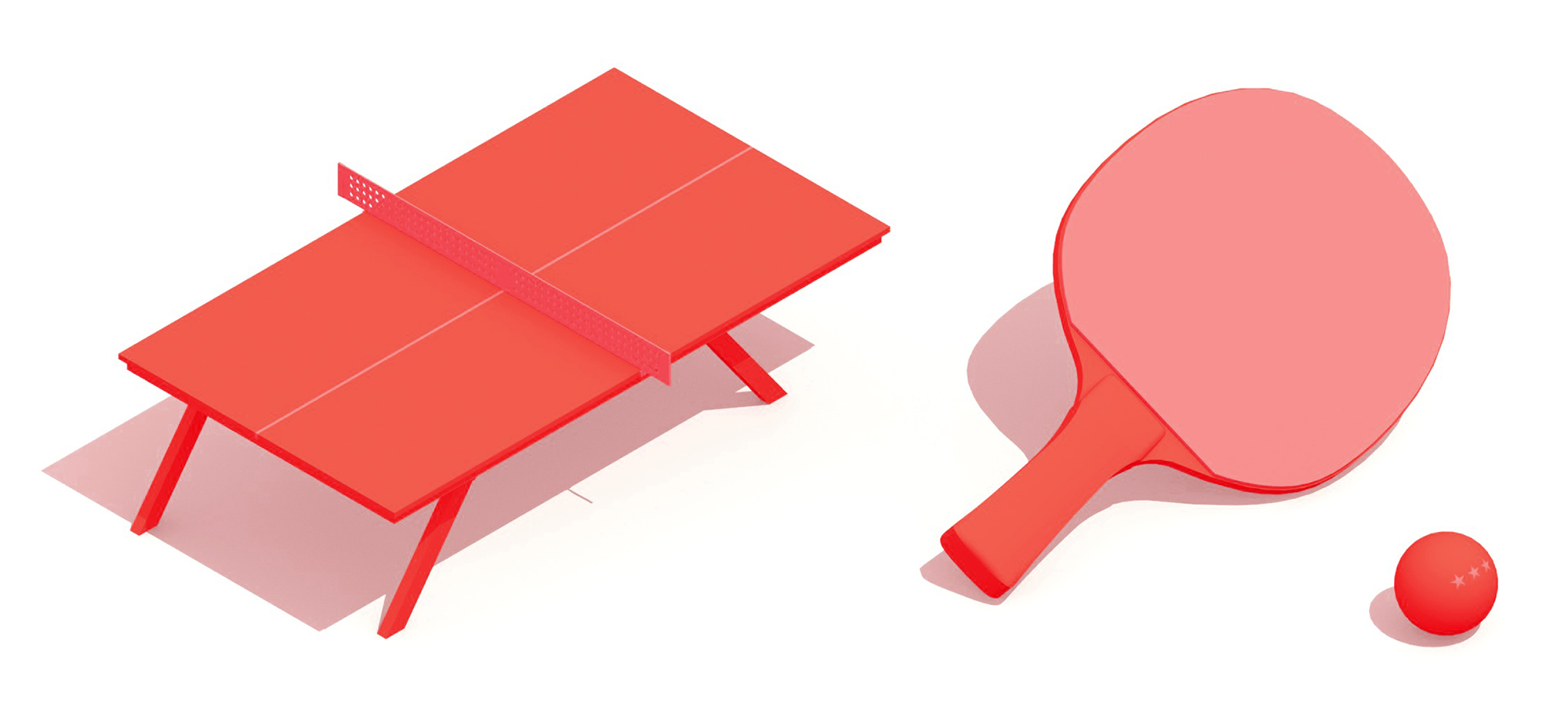 Group of 3D models of Table Tennis (Ping-Pong) equipment including a table tennis table, paddle, and ping-pong ball