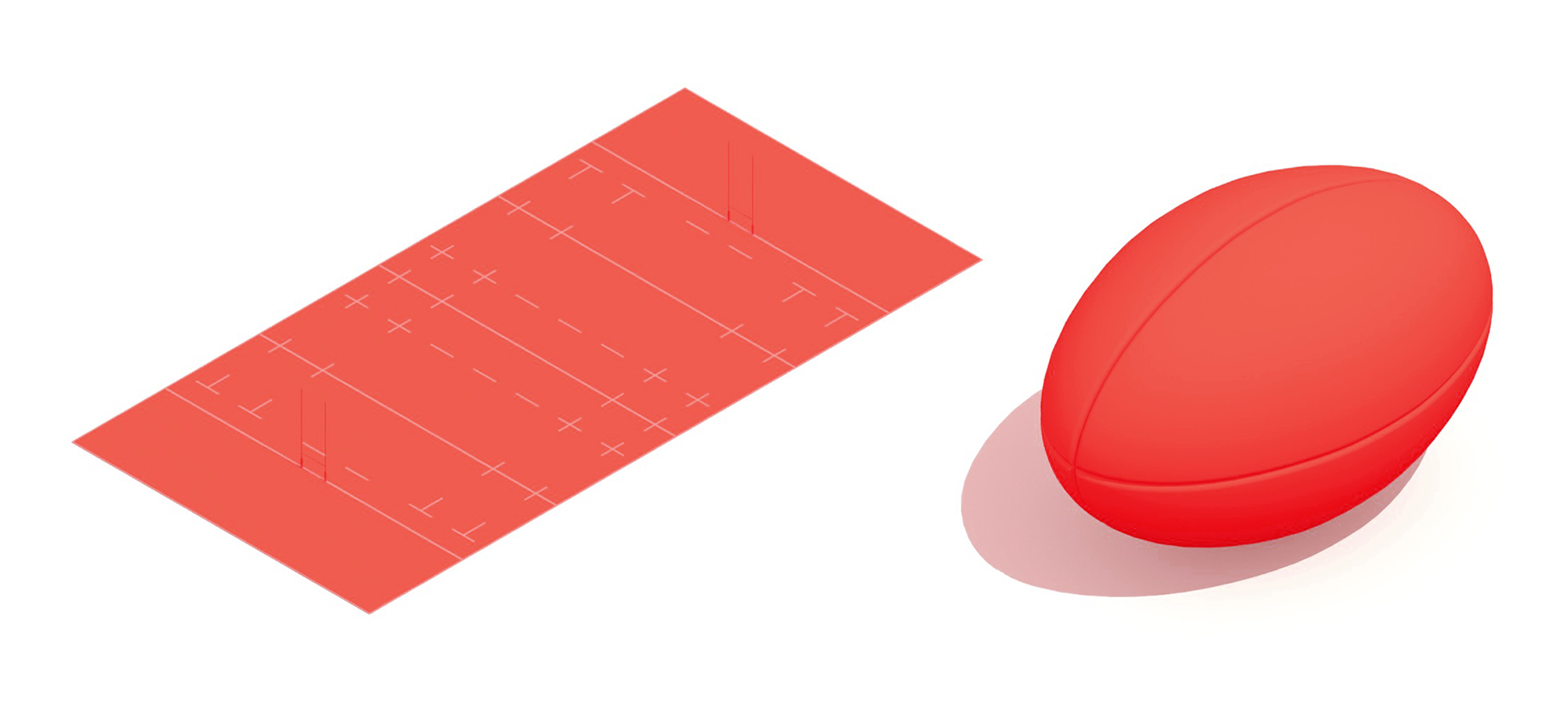 Pair of 3D models of rugby items including a rugby pitch and rugby ball