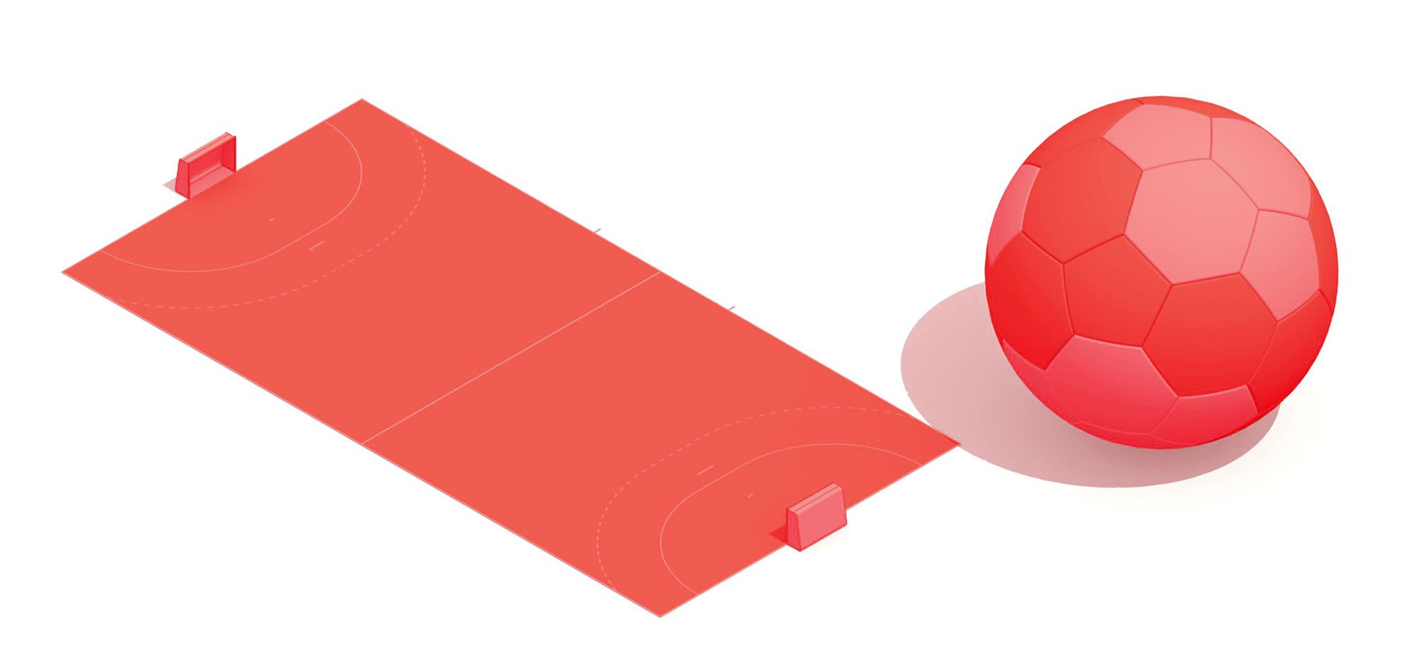 Pair of 3D perspective views of a Handball court and handball