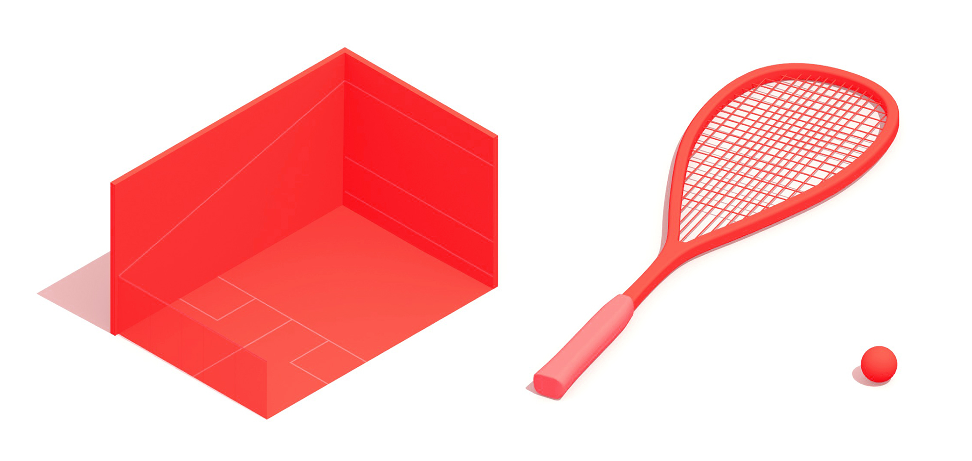 3D Collection of various elements of the sport of Squash including the Squash court, squash racket, and squash ball