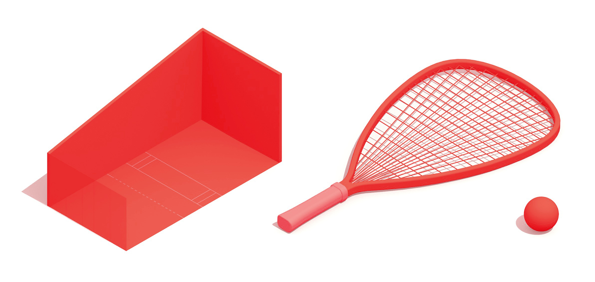 3D collection of Racquetball elements including the Racquetball court, racquet, and racquetball