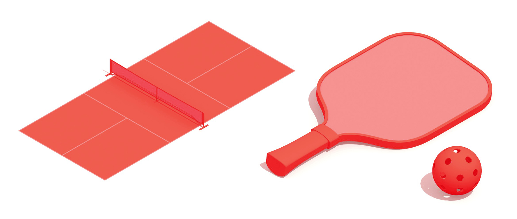 3D collection of the elements of pickleball including the pickleball court, pickleball racket, and pickleball