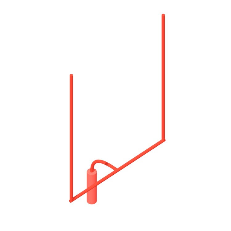 View of a American Football Field Goal Post (Professional/NFL) in 3D available for download