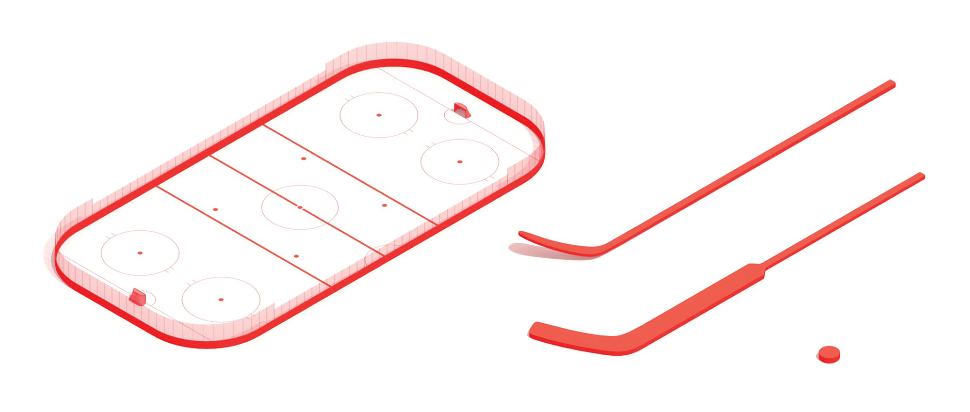 Group of 3D drawings of the elements of Ice Hockey including hockey sticks, puck, and the ice hockey rink
