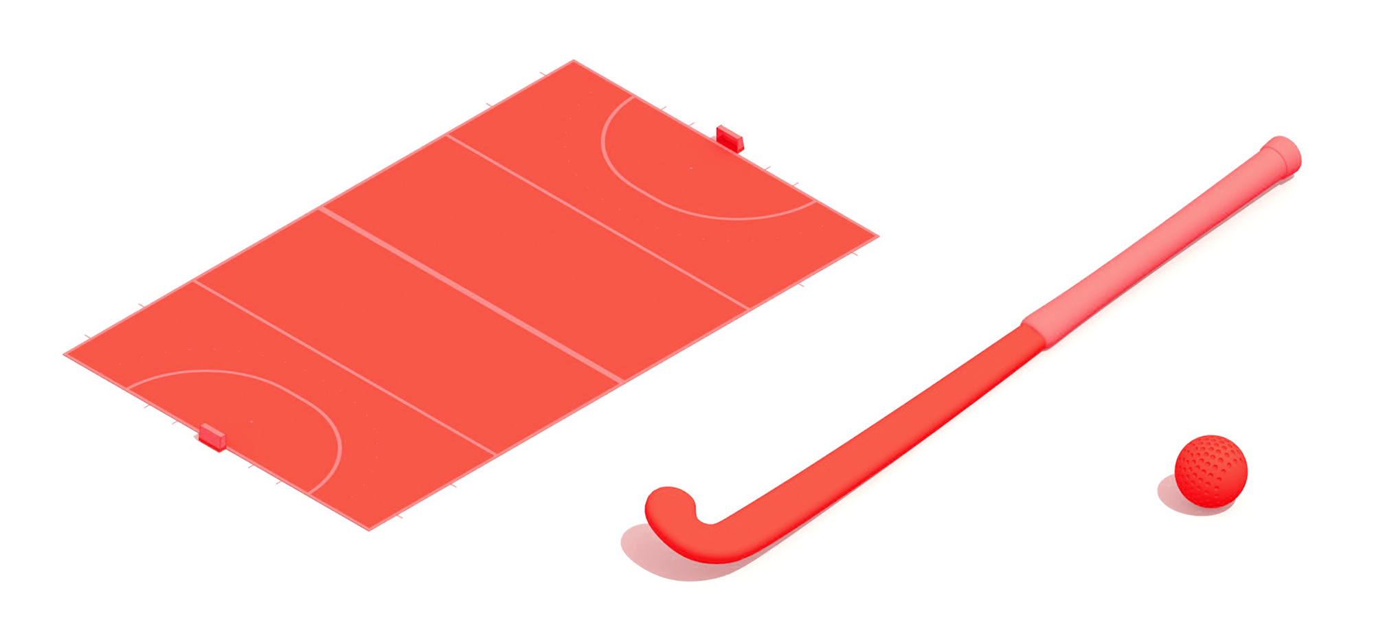 3D collection showing the various components of the sport of Field Hockey including the field hockey pitch, stick and ball