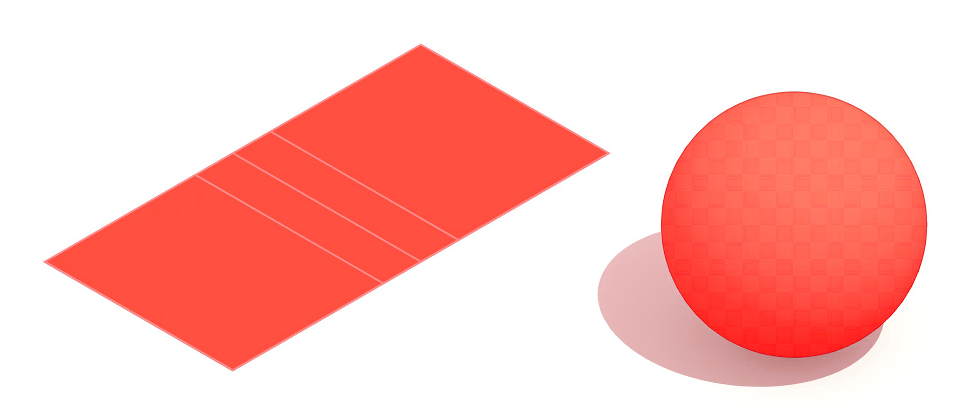 Pair of 3D illustrations showing a regulation dodgeball court and dodgeball