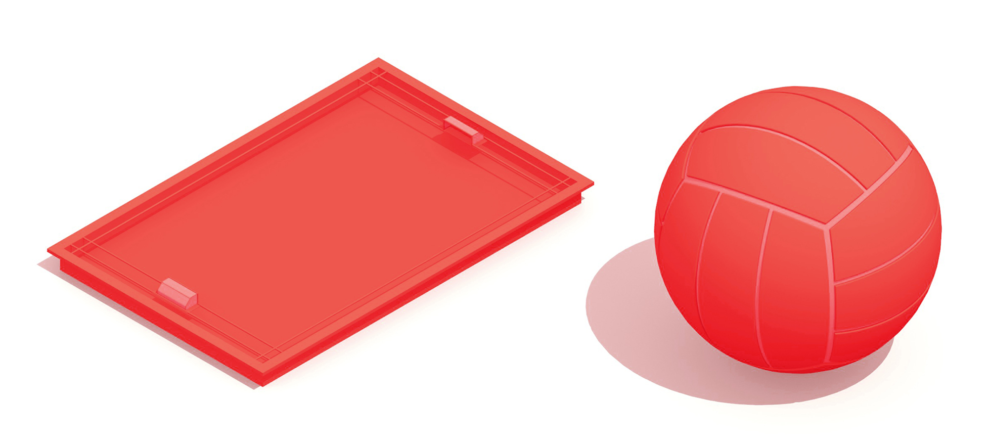 Pair of 3D illustrations of a Water Polo Pool and Water Polo Ball