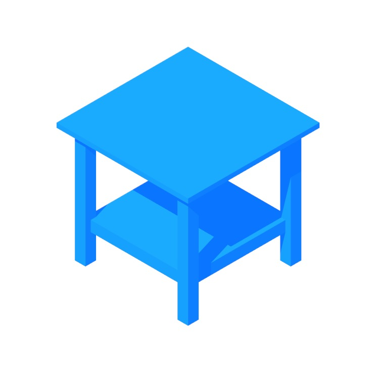 3D model of the IKEA Hemnes Side Table viewed in perspective