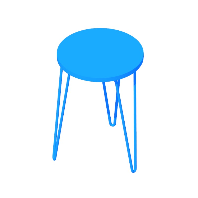 View of the Florence Knoll Hairpin Stackable Table in 3D available for download