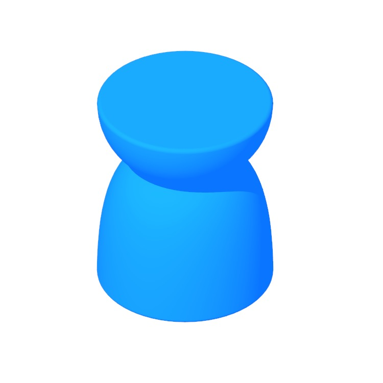 View of the Hew Side Table (Shape B) in 3D available for download