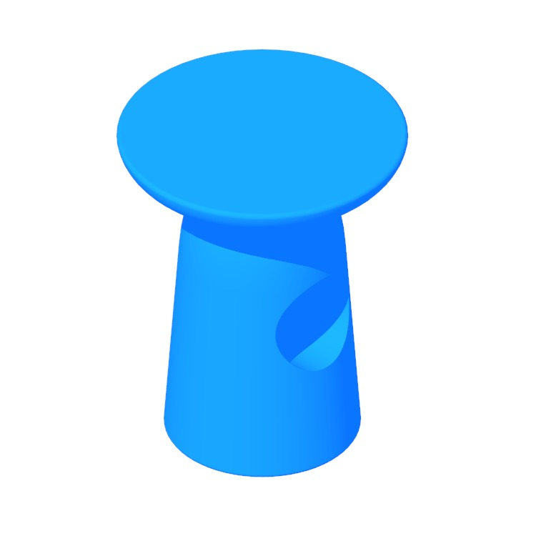 View of the Hew Side Table (Shape E) in 3D available for download