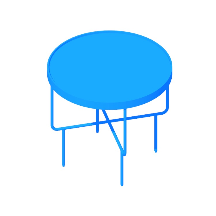 3D model of the Roundhouse Side Table (Low) viewed in perspective