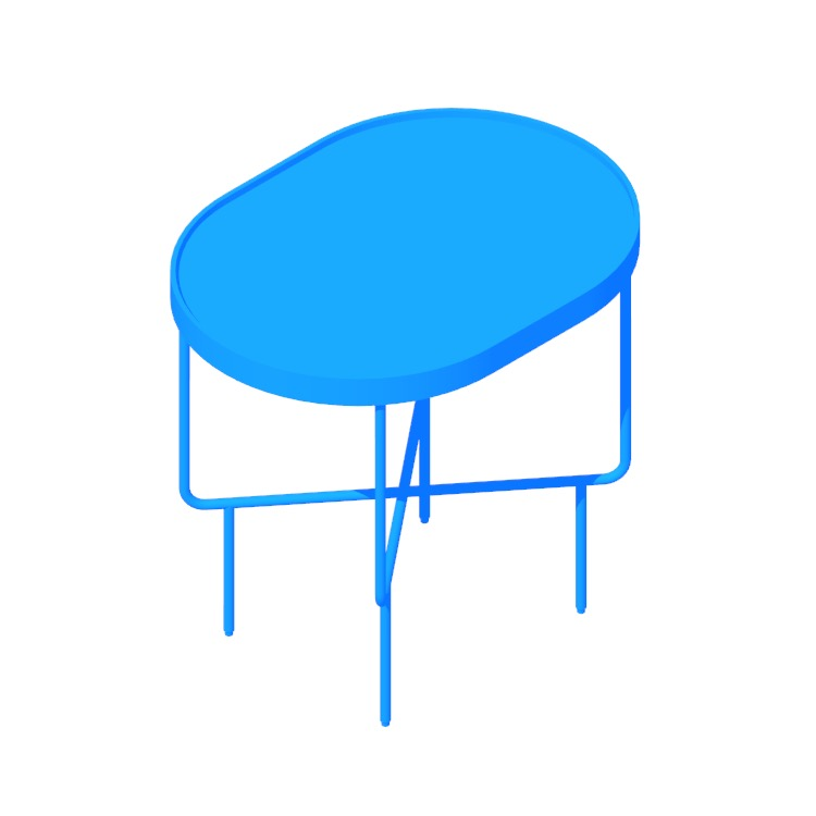 Perspective view of a 3D model of the Roundhouse Side Table (Tall)