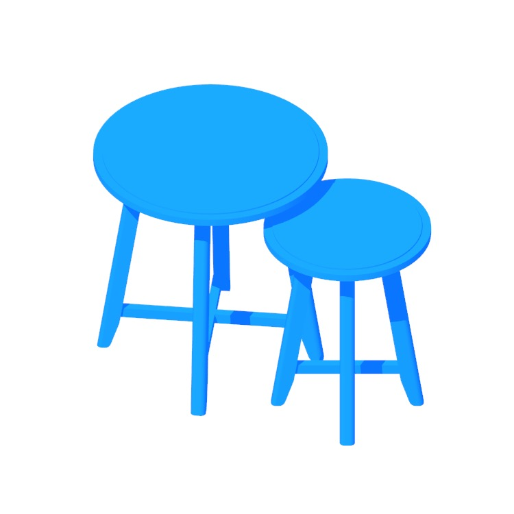 Perspective view of a 3D model of the IKEA Kragsta Nesting Tables
