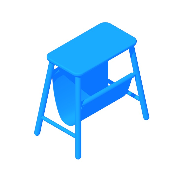 Perspective view of a 3D model of the IKEA Vilto Storage Stool