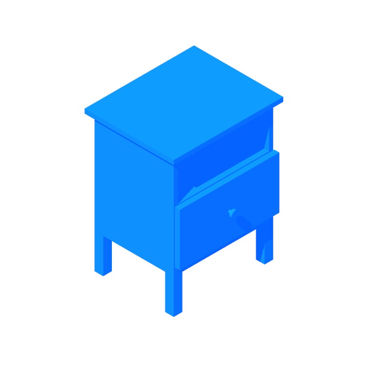 3D model of the IKEA Tarva Nightstand viewed in perspective