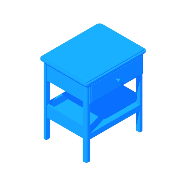 3D model of the IKEA Tyssedal Nightstand viewed in perspective