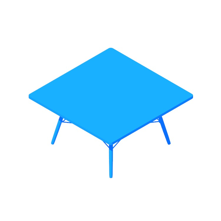 Perspective view of a 3D model of the Eames Coffee Table