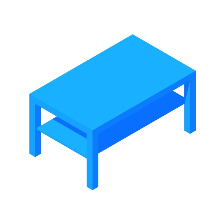 3D model of the IKEA Lack Coffee Table (Rectangle, Large) viewed in perspective