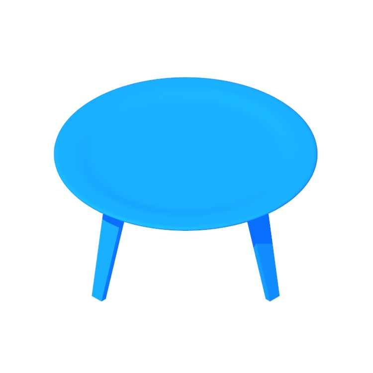 View of the Eames Molded Plywood Coffee Table in 3D available for download