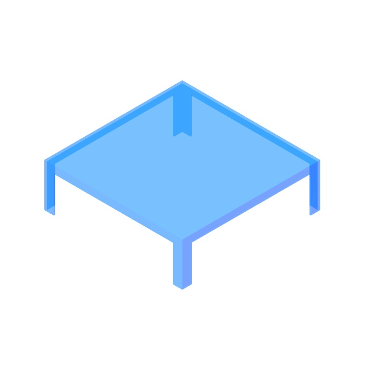 Perspective view of a 3D model of the Invisible Table (Low)