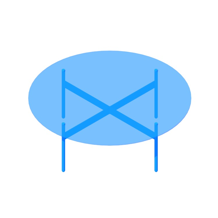 3D model of the Flume Coffee Table (Round) viewed in perspective