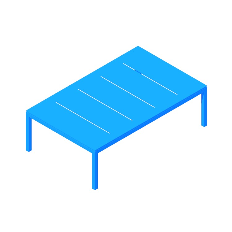 3D model of the Skiff Coffee Table viewed in perspective