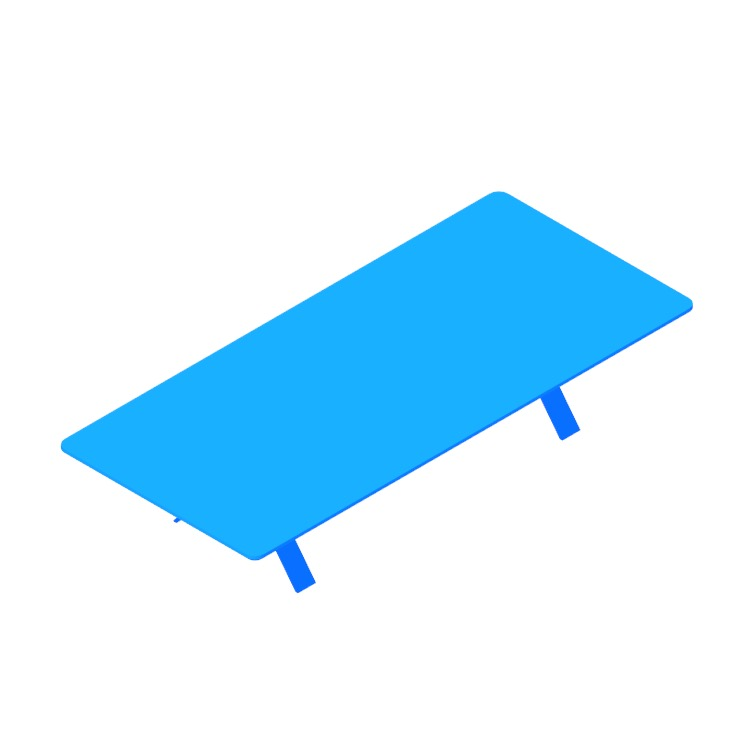 3D model of the Super Rectangular Coffee Table viewed in perspective