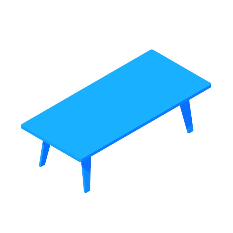 3D model of the Eames Rectangular Coffee Table viewed in perspective