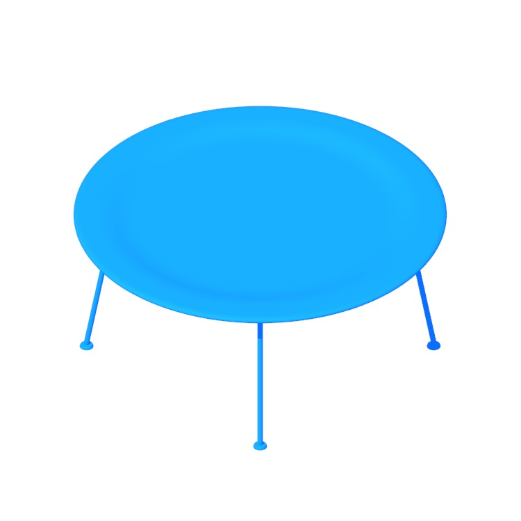 Perspective view of a 3D model of the Eames Molded Plywood Coffee Table with Metal Base