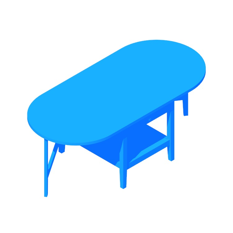 Perspective view of a 3D model of the IKEA Arkelstorp Coffee Table