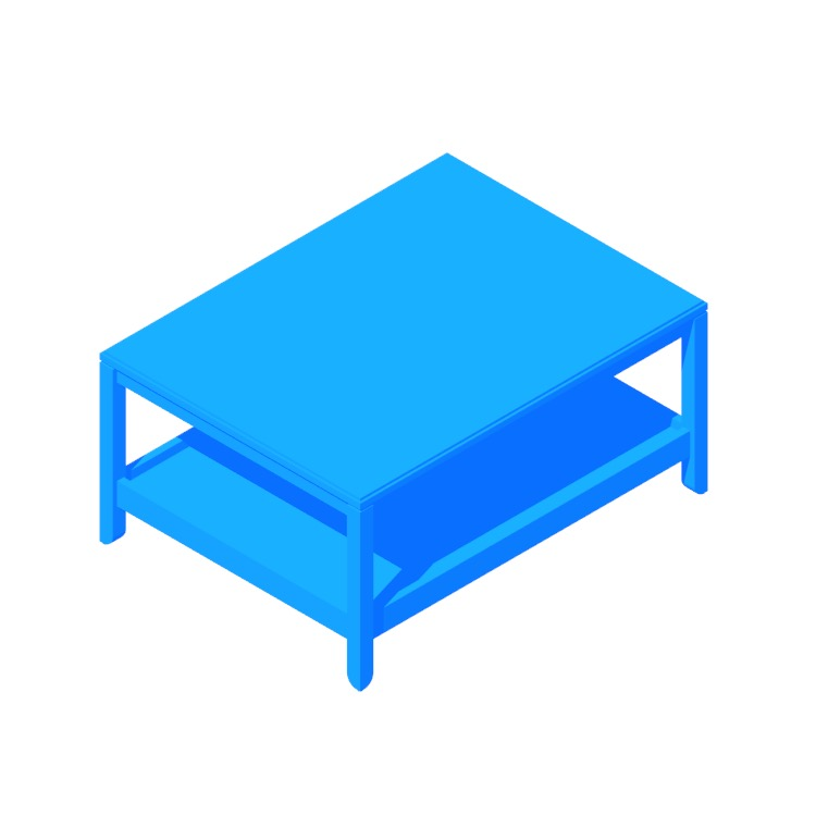 Perspective view of a 3D model of the IKEA Havsta Coffee Table