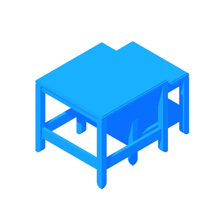 3D model of the IKEA Havsta Nesting Tables viewed in perspective