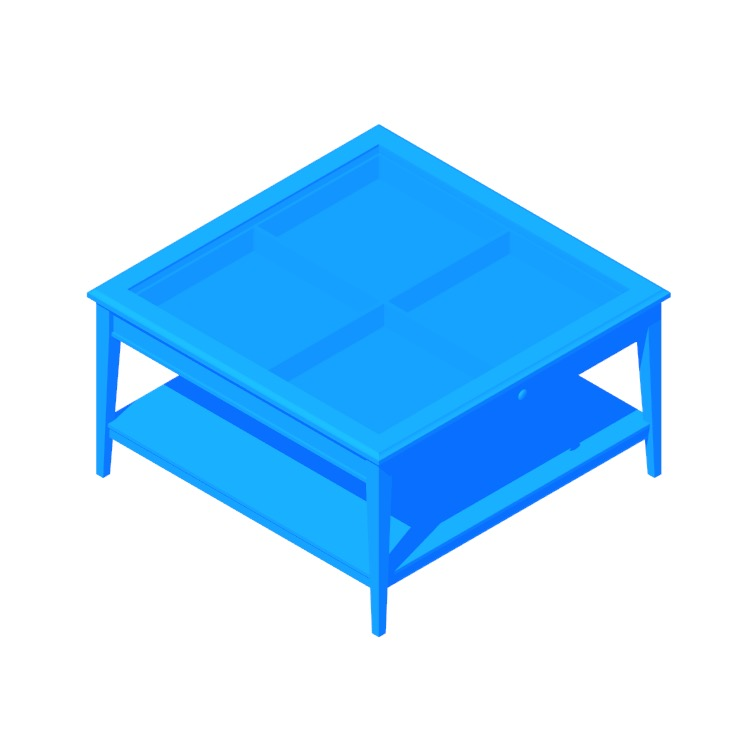 Perspective view of a 3D model of the IKEA Liatorp Coffee Table