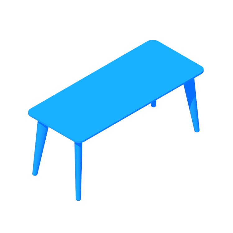 3D model of the IKEA Lisabo Coffee Table (Rectangular) viewed in perspective