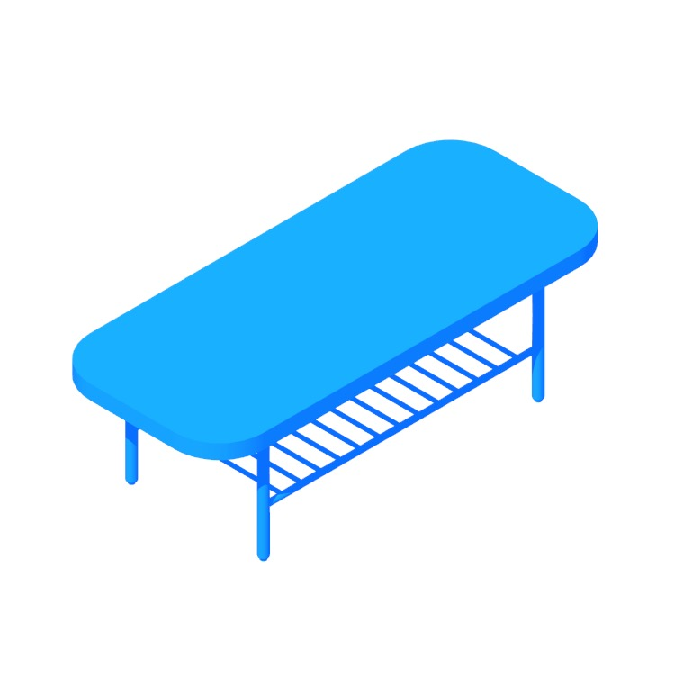 Perspective view of a 3D model of the IKEA Listerby Coffee Table (Rectangular)