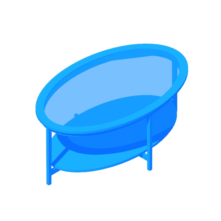 Perspective view of a 3D model of the IKEA Malmsta Coffee Table