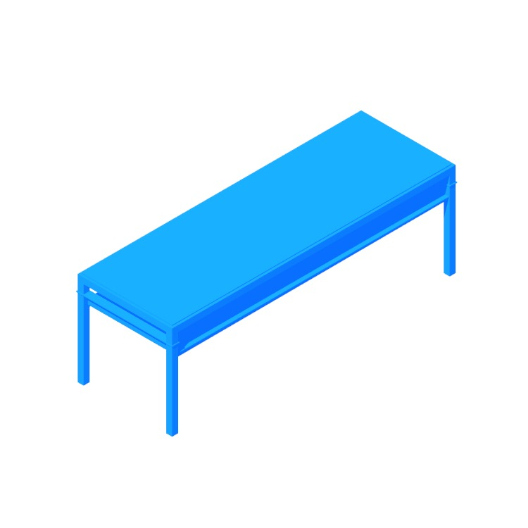 3D model of the IKEA Nyboda Coffee Table (Large) viewed in perspective