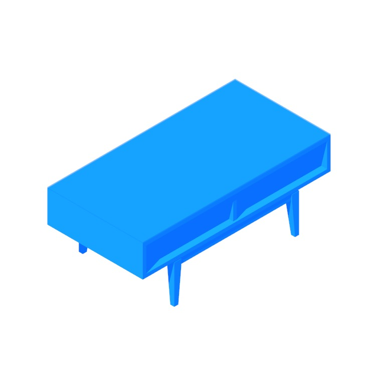 Perspective view of a 3D model of the IKEA Regissör Coffee Table