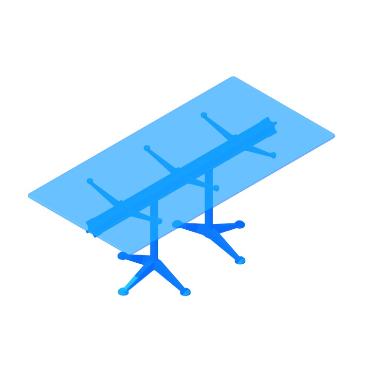 Perspective view of a 3D model of the Burdick Group Tables (Rectangular)