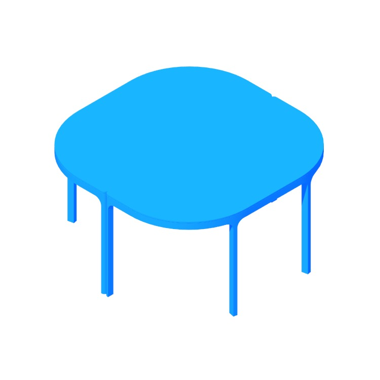 3D model of the IKEA Bekant Conference Table (Round 2 Piece) viewed in perspective