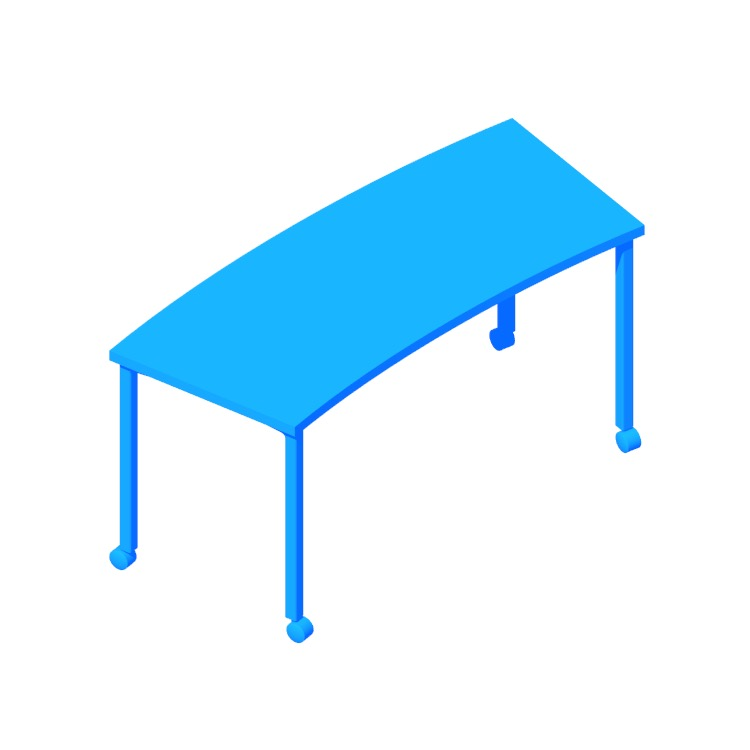 3D model of the Everywhere Table (Classroom Curve - Post Leg) viewed in perspective