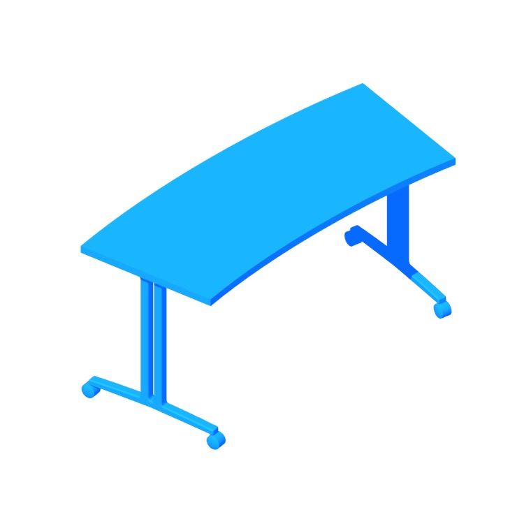 View of the Everywhere Table (Classroom Curve - T-Leg) in 3D available for download